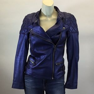 Jack Wills Metallic Blue Leather Jacket